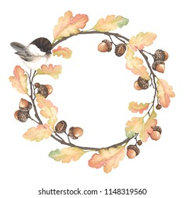 Autumn wreath with bird Black-capped Chickadee, acorns, oak branches and leaves. Vector illustration in vintage watercolor style.