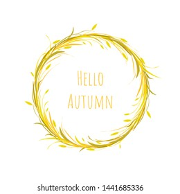 Autumn wreath with gold ears of wheat, barley or rye and blades of grass. Card with text hello autumn. Turquoise background.  Vector illustration. Harvest card. Autumn clip art.