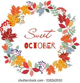 Autumn wreath, hand drawn, vector