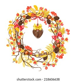 Autumn wreath  with heart pendant, pine cones, rowan, acorns and oriental bittersweets.