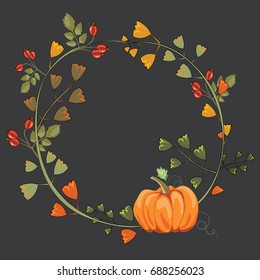 Autumn wreath with leaves, pumpkin, rose hips, chestnuts and acorns. Vector illustration on dark grey background.