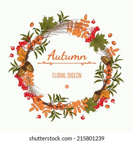 Autumn wreath of  mountain ash, buckthorn and acorns, can be used as greeting card, invitation card for wedding, birthday and other holiday. Vector illustration.