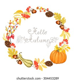 Autumn wreath with pumpkins, acorns, pine cones, rowan and Oriental Bittersweet, vector illustration.