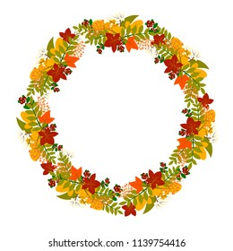 autumn wreath, Round frame of colored autumn leaves and berries.  Floral Design elements. Perfect for invitations, greeting cards, prints, posters, packing