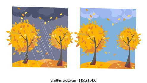 Autumn yellow trees with flying leaves. Set of two non-parallel pictures with a view of good sunny weather and rainy evening. Flat cartoon vector illustration. Trees with round crown of classic leaves