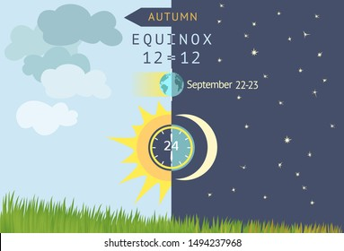 Autumnal equinox, day and night are equal to 12 hours. Astronomical beginning of autumn. Night becomes longer than Day in the northern hemisphere. Sun and Moon over grass field. Vector illustration.