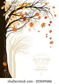 Autumnal forest with falling maple leaves. Place for text.