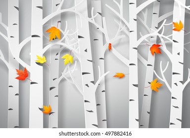 Autumnal forest with falling maple leaves. paper art style.
