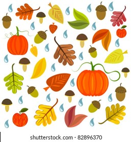Autumnal texture with leaves, pumpkins and mushroom. Vector illustration