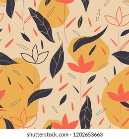 Autumnal trendy vector pattern, background.