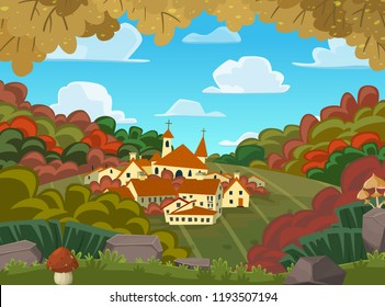 Autumnal vector landscape with little village on a hill. Vector cartoon illustration