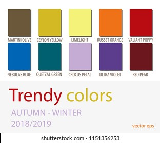 Autumn-Winter 2018 2019 Color trends. Fashion Colours isolated on white background.