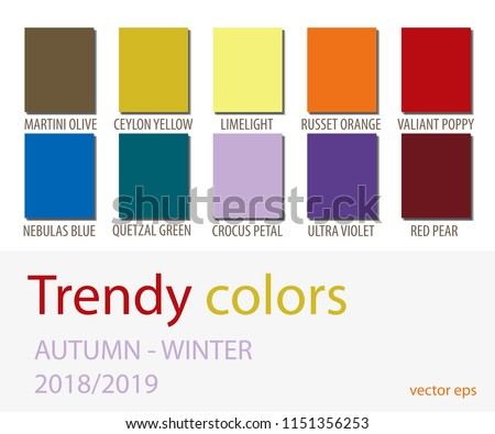 Autumn Winter 2018 2019 Color Trends Fashion Stock Vector Royalty