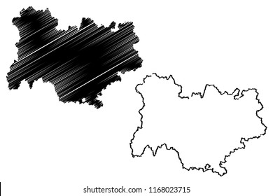 Auvergne-Rhone-Alpes (France, administrative region) map vector illustration, scribble sketch Auvergne-Rhone-Alpes map