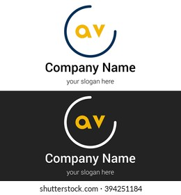 AV business logo icon design template elements. Vector color sign.