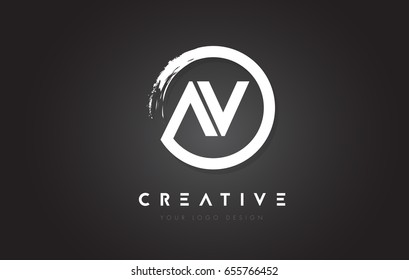 AV Circular Letter Logo with Circle Brush Design and Black Background.