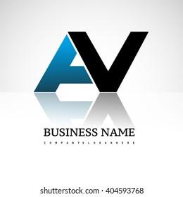 AV company linked letter logo icon blue and black
