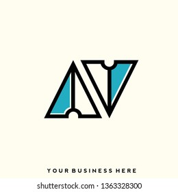 AV geometric monogram. Typographic logo with uppercase letter A and letter V. Lettering icon in modern, corporate style isolated on light background. Initials sign.