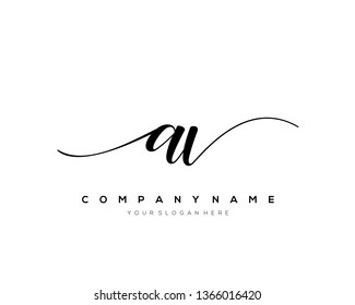 AV handwriting initial  logo vector