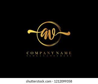 AV initial handwriting logo circle template vector
