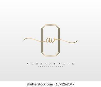 AV initial handwriting logo template vector