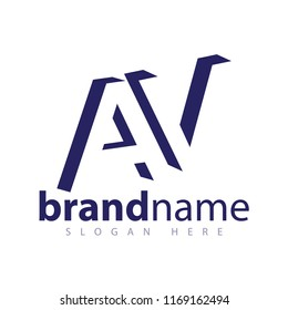 AV initial letter with negative space logo icon vector template