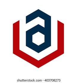 av initial logo and hexagon