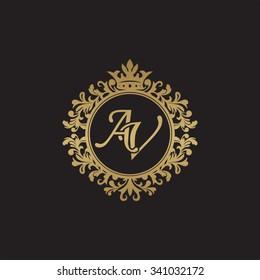 AV initial luxury ornament monogram logo