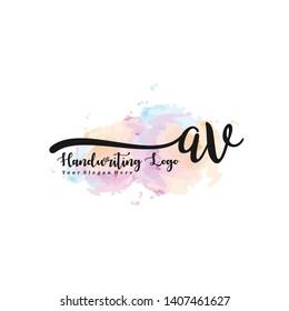 AV initial signature logo. handwriting logo template vector,