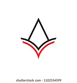 AV letter with eagle beak logo, line art