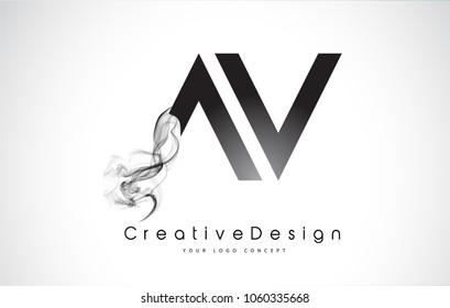 AV Letter Logo Design with Black Smoke. Creative Modern Smoke Letters Vector Icon Logo Illustration.