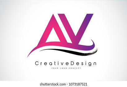 AV Letter Logo Design in Black Colors. Creative Modern Letters Vector Icon Logo Illustration.