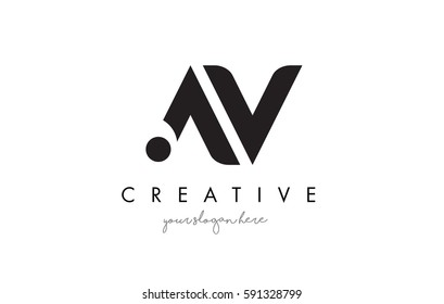 AV Letter Logo Design with Creative Modern Trendy Typography and Black Colors.