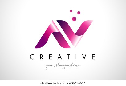 AV Letter Logo Design Template with Purple Colors and Dots
