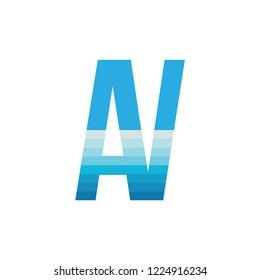 AV letter with sea wave logo