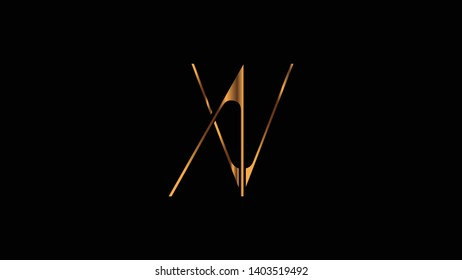 AV logo design golden template vector illustration minimal design