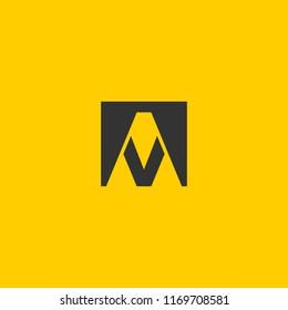 AV logo design with letter A V in vector format.
