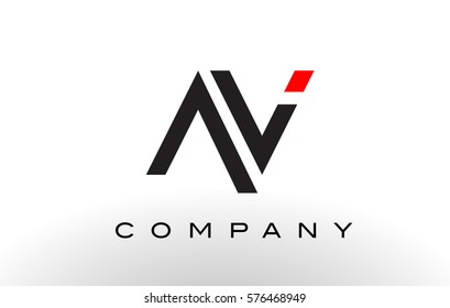 AV Logo.  Letter Design Vector with Red and Black Colors.