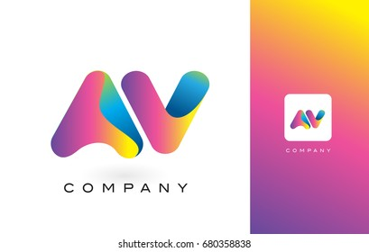 AV Logo Letter With Rainbow Vibrant Colors. Colorful Modern Trendy Purple and Magenta Letters Vector Illustration.