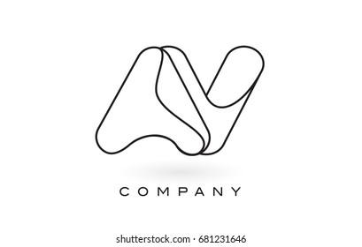 AV Monogram Letter Logo With Thin Black Monogram Outline Contour. Modern Trendy Letter Design Vector Illustration.
