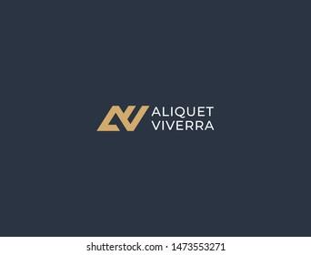 AV. Monogram of Two letters A&V. Luxury, simple, minimal and elegant AV logo design. Vector illustration template.