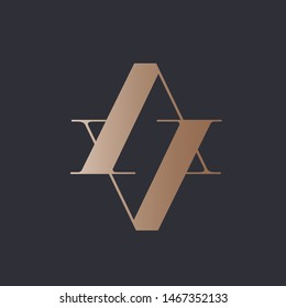 AV monogram.Typographic logo with letter a and letter v.Serif characters in rose gold color isolated on dark background.Lettering icon.Uppercase alphabet initials.Modern, geometric, beauty style.