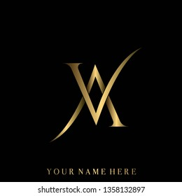 AV monogram.Typographic logo with serif letter a and letter v.Uppercase lettering icon in shiny golden metallic color isolated on dark background.Stylish initials.Modern, luxury, high-end style.