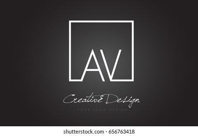 AV Square Framed Letter Logo Design Vector with Black and White Colors.