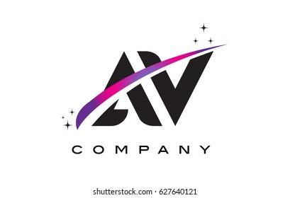 AV A V Black Letter Logo Design with Purple Magenta Swoosh and Stars.
