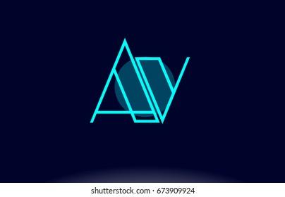 av a v blue line circle letter logo alphabet creative company vector icon design template