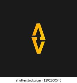 AV or V A letter alphabet logo design in vector format.