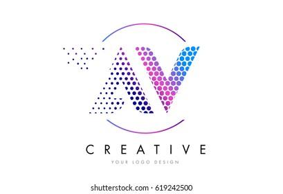 av a v pink magenta dotted bubble letter logo design dots lettering vector illustration