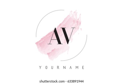 AV A V Watercolor Letter Logo Design with Circular Shape and Pastel Pink Brush.
