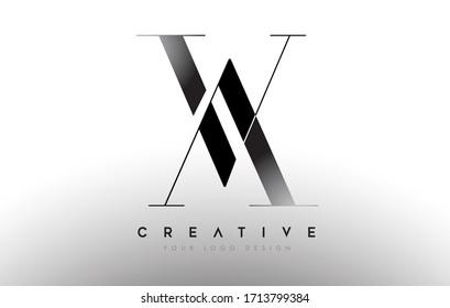 AV va letter design logo logotype icon concept with serif font and classic elegant style look vector illustration.